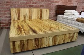 Flat Platform Bed Frame Bathroom Elevated Varnished Wooden Bed Frame With Storage