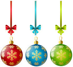 large transparent three ornaments clipart