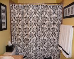 Black Grey And White Shower Curtain Coral Shower Curtain Etsy