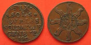 siege swiss 1590 schweiz genf swiss geneva 6 sols 1590 siege copper vf scarce
