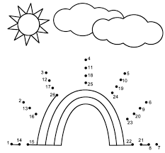 free rainbow activity sheets for connect the dots coloring pages
