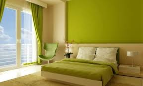 natural style bedroom in green and white like home