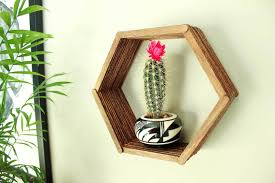 Inexpensive Wall Decor by Popsicle Stick Hexagon Shelf Easy Diy Wall Art