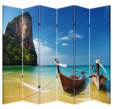 Canvas Room Divider 6 Panel Folding Screen Canvas Room Divider Canoes By The Hill