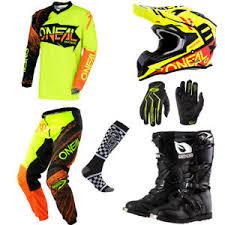 motocross gear oneal element hi viz motocross gear jersey pants gloves helmet