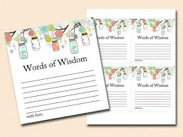 words of wisdom cards for bridal shower words of wisdom bridal shower words of wisdom baby shower