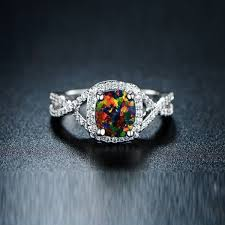 4 00 ctw black opal engagement ring dailysale - Black Opal Engagement Rings