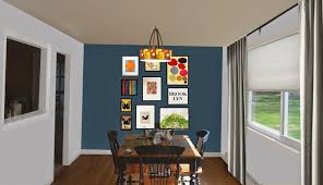 Dining  Back Wall Blue Dining Room Accent Wall   Dining - Dining room accent wall