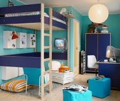 Dorm Room Loft Bed Plans Free by Bedroom Fancy Cyan Blue Bedroom With Ikea Loft Bed Plus Round