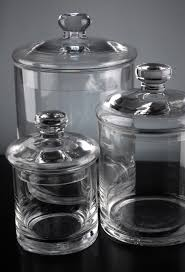 set of 3 clear glass apothecary canister jars 5