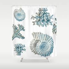 Gray And Teal Shower Curtain Items Similar To Coral And Shell Shower Curtain Ocean Shower