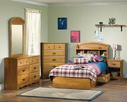 Wood Bed Frame With Shelves Bedroom Kids Bedroom Design With Brown Pine Wood Bed Frame