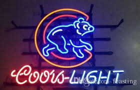 coors light bar sign 2018 custom newchicago cubs coors light beer real glass neon sign