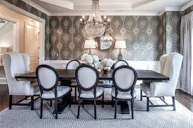 Black And White French Round Back Dining Chairs Transitional - Black and white dining table with chairs