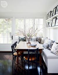 white kitchen banquette blue gray pattern cushions square dining
