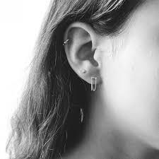 two earrings rivet two chain earrings silver fabrikk