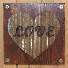 love wall sign with galvanized metal rusty heart reclaimed home