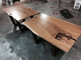 hand made single slab live edge dining room table in white oak by
