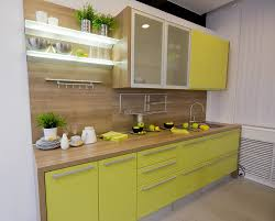 Handles For Kitchen Cabinets by Small Kitchen Design Presenting Yellow Green Finish Kitchen