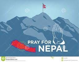 Mt Everest Map Pray For Nepal Earthquake Crisis Concept With Praying Hand Map