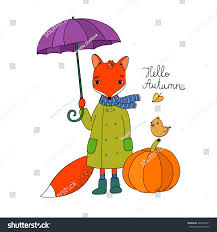 halloween background small cute cartoon fox under umbrella small stock vector 469895621
