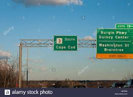 cape cod road sign on route 3 from boston to cape cod stock photo