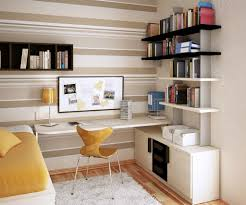 Small Writing Desks by Modern Floating Shelves And Yellow Chair For Chic Study Room Using