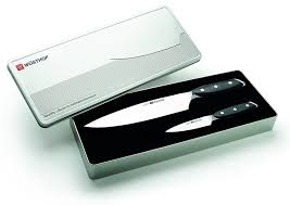 amazon com wusthof xline 2 piece knife set silver kitchen u0026 dining