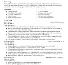 Resume Security Guard Sample Of Security Guard Resume Standard Security Guard Resume