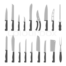 kitchen knives names different types of kitchen knives vectors set stock vector