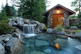 architecture diy backyard waterfall with covered stone patio and