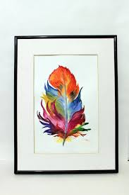 Wall Art Home Decor Feather Original Watercolor Painting Handmade Colorful Home Decor