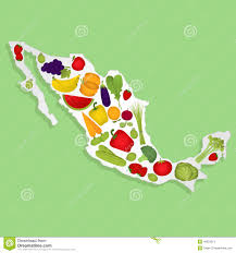 Merida Mexico Map by Map Of Mexico With Fruits Stock Vector Image 48253513