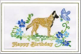 belgian sheepdog uk belgian shepherd dog birthday card embroidered by dogmania 8 x6 g5658