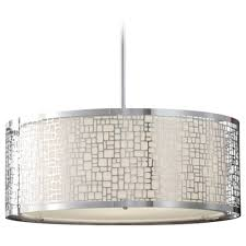 Drum Pendant Lights Modern Drum Pendant Light With White Glass In Chrome Finish