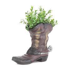 spurred cowboy boot planter wholesale at koehler home decor at