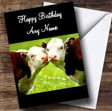 Cow Birthday Card Cute Kissing Cows Romantic Personalised Birthday Card The Card Zoo
