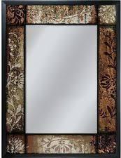 Bronze Bathroom Mirror Bronze Patchwork Mirror Black Frame 25in X 33in Rectangle Wall