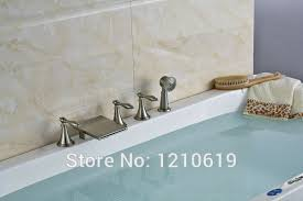 Three Handle Bathtub Faucets Newly Nickle Brushed Bathroom Waterfall Tub Faucet W Handheld