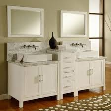 Farmhouse Style Bathroom Vanity by Vanity 84 Inch Horizon Pearl White Carrera Marble Double Bathroom