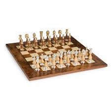 elegant gold silver u0026 wood chess set hayneedle