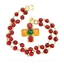 vintage cross necklace images Chanel gripoix vintage orange red green glass vintage cross jpg