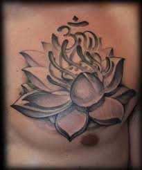 black and grey lotus flower with om on chest