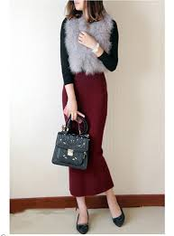 pencil skirts pencil skirt maroon stretch waist above the ankle