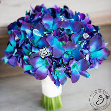 blue dendrobium orchids purple blue galaxy orchid wedding bouquet real touch wedding
