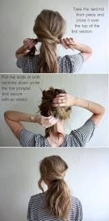 easy sexy updos for shoulder length hair criss cross low ponytail hair pinterest ponytail hair style