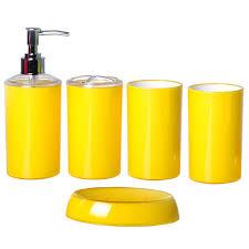 simple style bath accessories yellow 5pcs set bathroom set purple