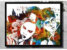 potter watercolor art print hermione ron harry potter hogwarts