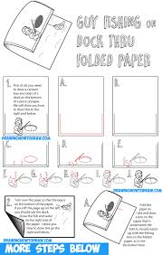 how to draw cartoon boy fishing on dock optical illusion with