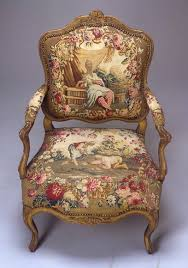 Antique Upholstered Armchairs Louis Xv Armchair Gilt Walnut And Beauvais Silk Tapestry Circa